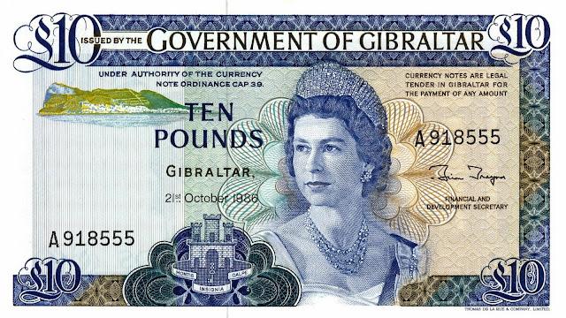 Gibraltar Banknotes 10 Pounds banknote 1986 Queen Elizabeth II