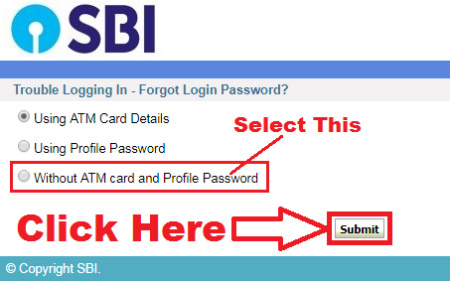 how to reset sbi internet banking password without using atm card details