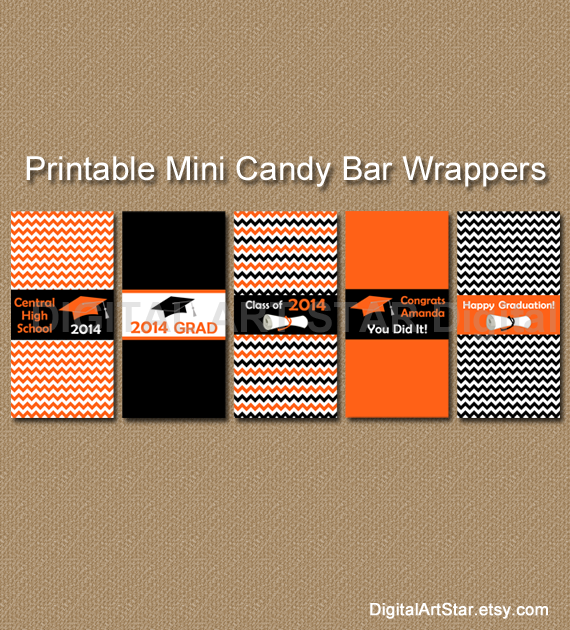 printable mini graduation chevron candy wrappers