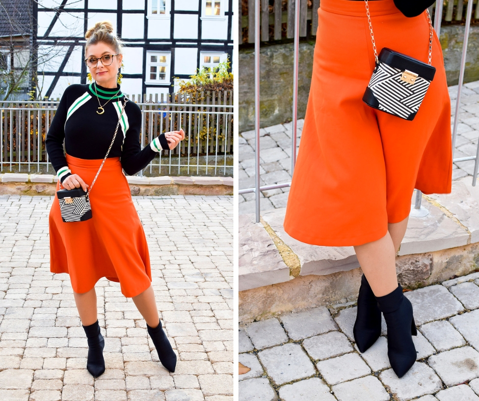 Wem steht Orange? Rock in A-Linie in Orange, Sockboots