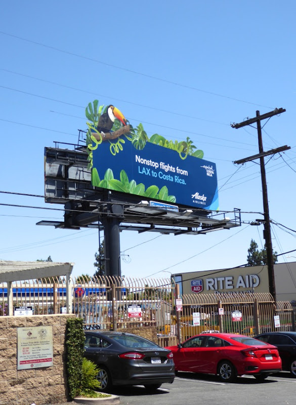 Alaska Airlines special extension Costa Rica Toucan billboard