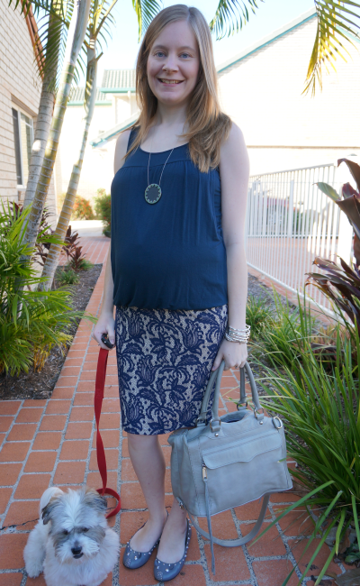 Blue and grey asos lace pencil skirt over baby bump pregnancy