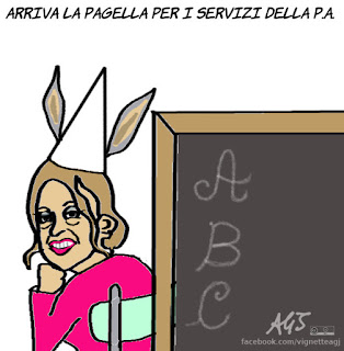 Madia, pubblica amministrazione, pagelle, soddisfazione dei cittadini, qualità del servizio, satira, vignetta