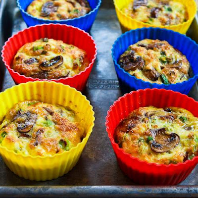 Baked Mini-Frittatas with Mushrooms, Cottage Cheese, and Feta