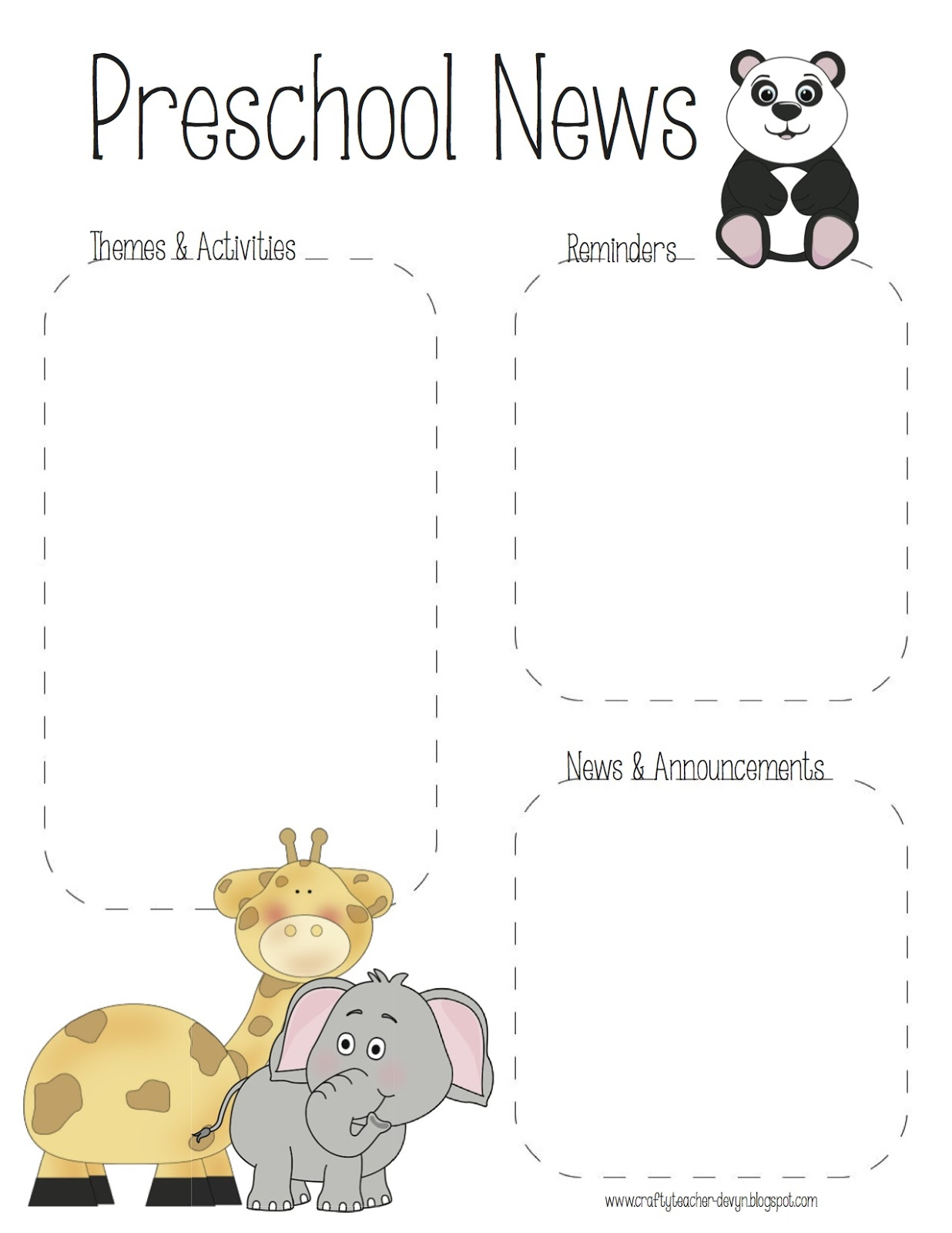 preschool zoo newsletter template the crafty teacher. Black Bedroom Furniture Sets. Home Design Ideas