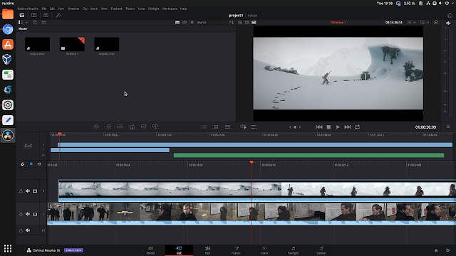 DaVinci Resolve 16 cut page Linux