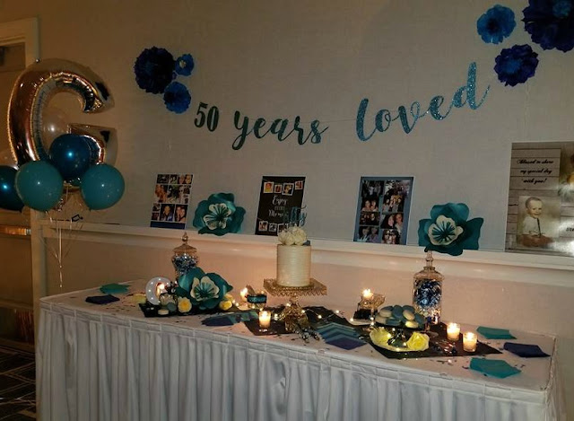 Blue themed 50th birthday party cake table