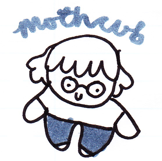 "A small drawing of a girl with glasses. Written text above this character says ""mothcub""."