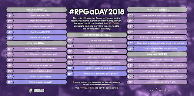 The pretty purple RPGaDay2018 graphic