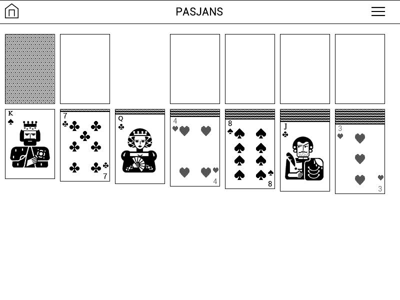 zrzut ekranu z gry Pasjans na czytniku PocketBook Basic 3