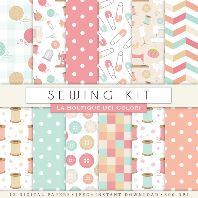 Sewing digital paper. Cute digital paper pack of art and crafts, yarn, wool ball backgrounds sew kit patterns for commercial use clipart