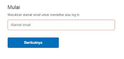 Masukan email pendaftaran akun