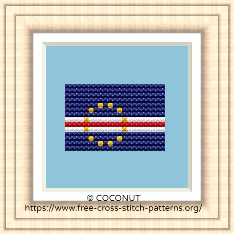 NATIONAL FLAG OF CAPE VERDE CROSS STITCH CHART