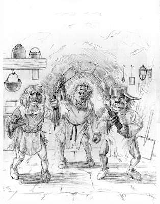 The Trouble with Trolls Preliminary Drawing by Jeff Ward