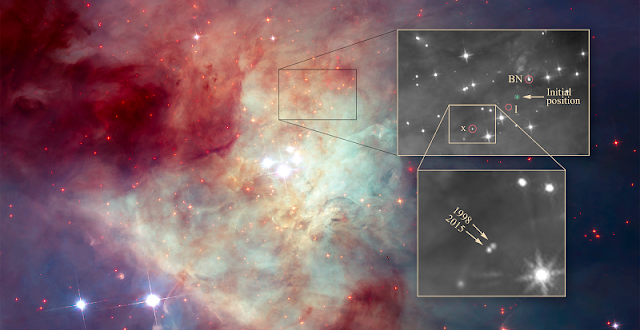 This dramatic view of the center of the Orion Nebula reveals the home of three speedy, wayward stars that were members of a now-defunct multiple-star system. The stellar grouping broke apart 500 years ago, flinging the three stars out of their birthplace. Credit: NASA, ESA, K. Luhman (Penn State University), and M. Robberto (STScI)