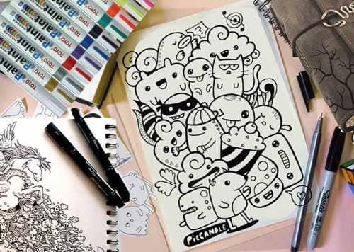 alat dan bahan membuat doodle art