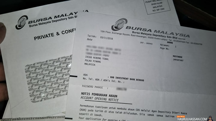 Cara Buka Akaun CDS Main Saham Bursa Malaysia