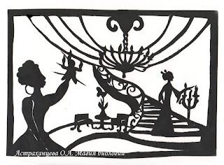"""силуэтная иллюстрация, Пратчетт, """"Ведьмы за границей"""", матушка Ветровоск, госпожа Гоголь, кукла вуду, поединок"""