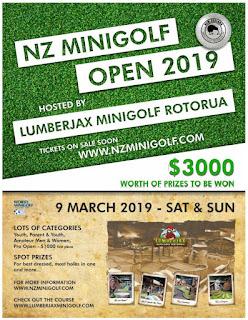 The 2019 New Zealand Minigolf Open tournament will be held at Lumberjax Mini Golf