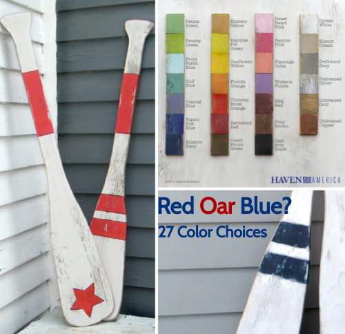 Rustic Painted Oar Paddles Choose Color