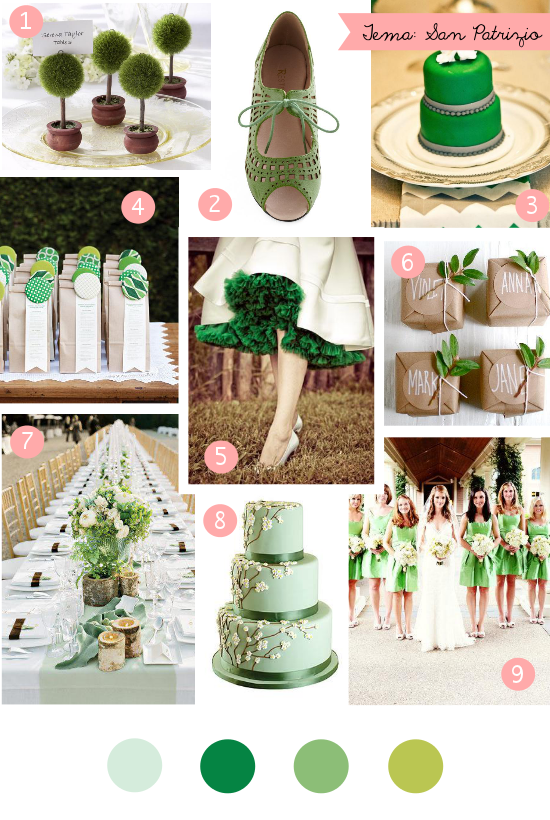 Matrimonio verde, green wedding, St. Patrick's Day Wedding Inspiration
