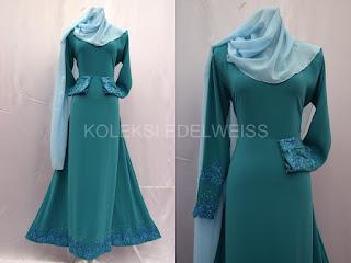 Jubah Muslimah Moden Online Warna  Biru Turqoise