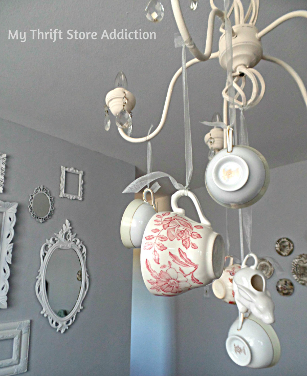 DIY Whimsical Teacup Chandelier mythriftstoreaddiction.blogspot.com Create a one of a kind chandelier with thrift store teacups!