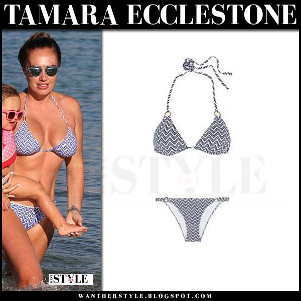 Tamara Ecclestone in blue zig zag print bikini melissa odabash what she wore