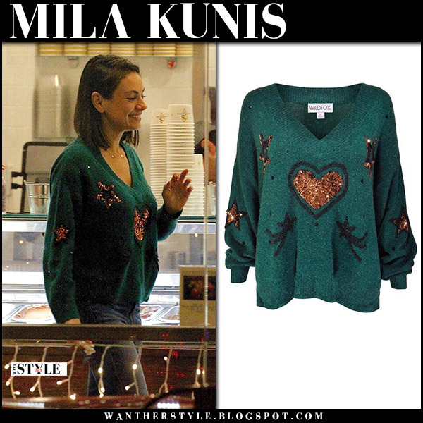 Mila Kunis in green embellished sweater wildfox street style december 17