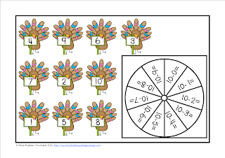 FREEBIE Turkey Subtraction 10 Facts Bump
