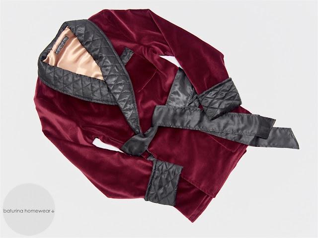 mens burgundy velvet smoking jacket quilted dark red robe traditional warm dressing gown cotton silk bathrobe