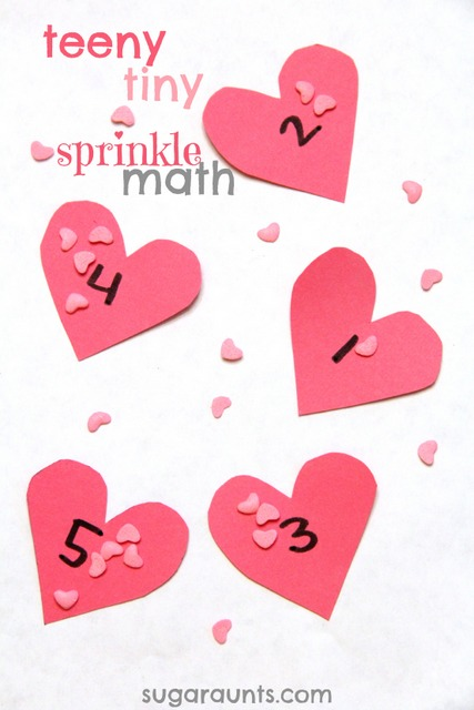Valentines Day heart math activity for kindergarten and preschool