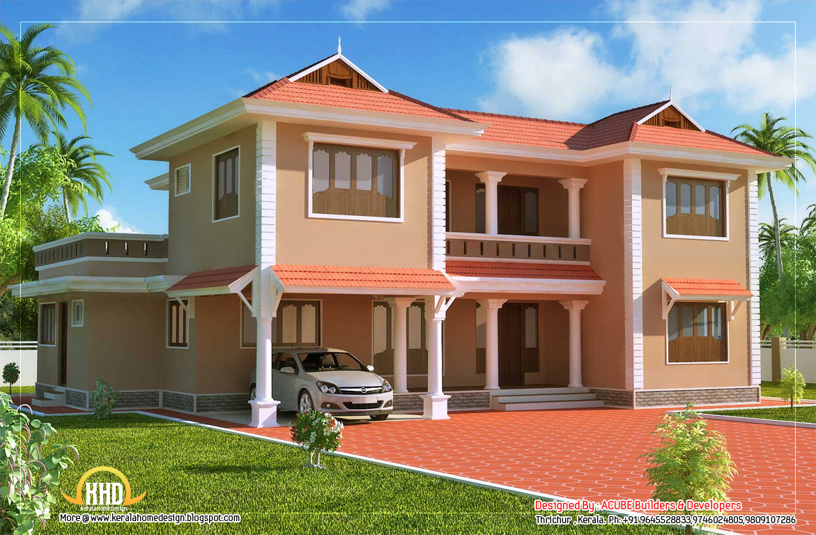Duplex sloping roof house 2618 sq ft kerala home for Sloped roof house plans in india