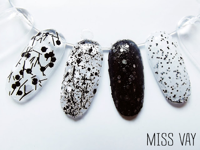 vernis ongles paillettes noir blanc black white connect the dots lynnderella china glaze hard candy revlon ritzy sugar rush black tie optional whirley away