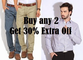 Men's Clothing: Buy any 2 and Get 30% Extra Off (Upto 55% already discounted)