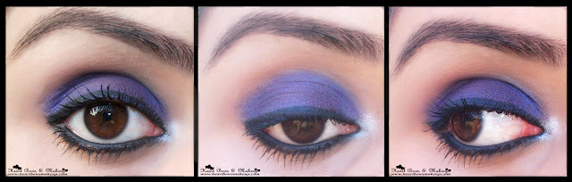 Bourjois Ombre à paupières Eye Shadow 12 Bleu Magnetique Review swatches price india buy online,purple eyemakeup,blue eyemakeup, brown eyes, indian eyemakeup