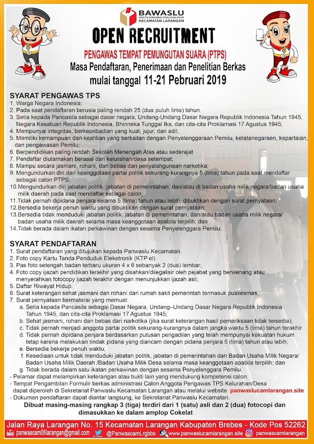 INFO PENDAFTARAN CALON PENGAWAS TPS PILEG DAN PILPRES TAHUN 2019