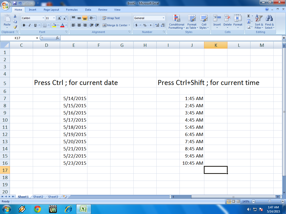 Learn New Things Shortcut Key To Insert Date And Time In