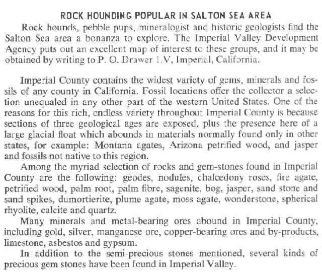 Rockhounding California Map.Rock Hounding In The Salton Sea Area