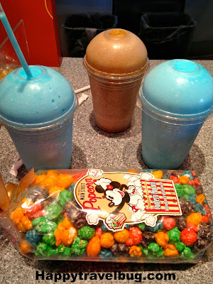 Icee's and Disney popcorn at Epcot in Disney World