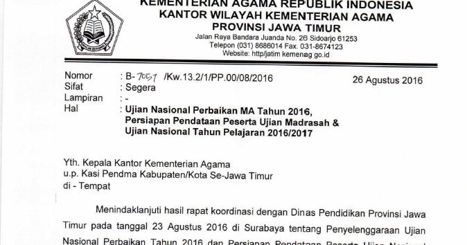 Pendma Kab Mojokerto Ujian Nasional Perbaikan Ma 2016 Persiapan Pendataan Peserta Ujian