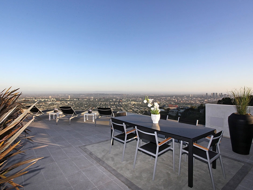 Rooftop terrace of Sharp modern home on Sunset Strip