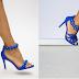 Sandale elegante albastre de ocazii cu toc gros si inalt