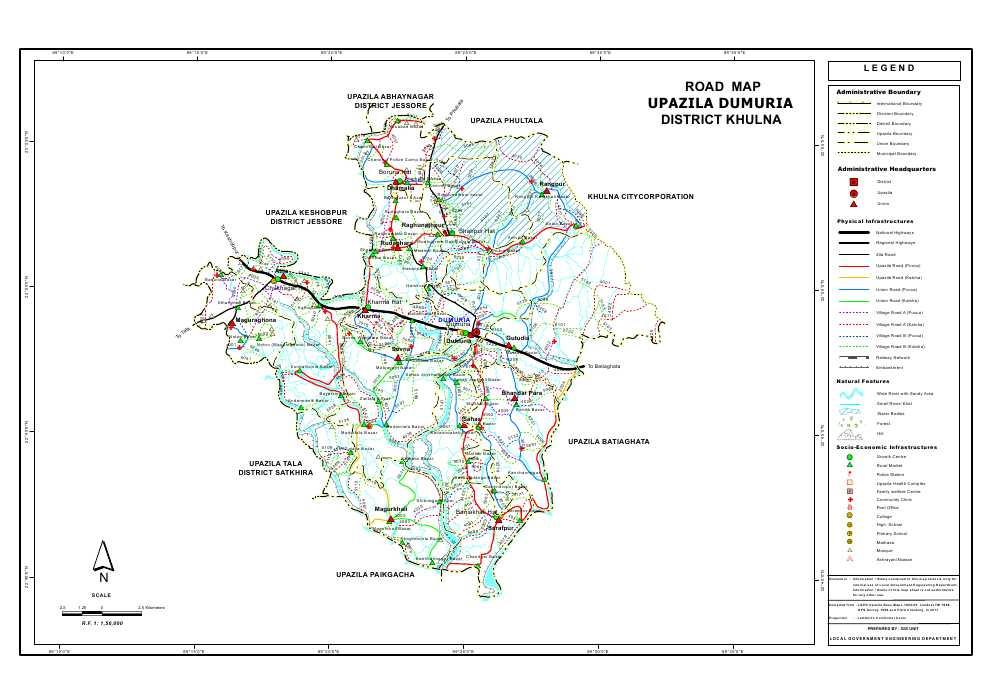 Dumuria Upazila Road Map Khulna District Bangladesh
