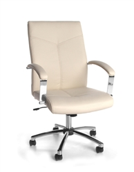 Cream Leather Boardroom Chair