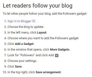 Cara Pasang Gadget Follower