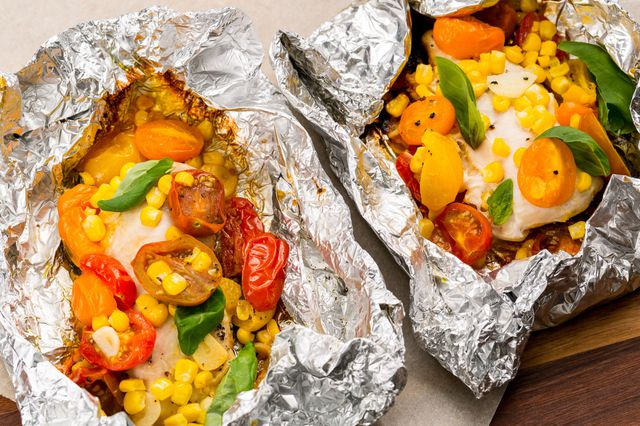 Chicken, Tomatoes, and Corn Foil Packs - food-drink-recipes.com