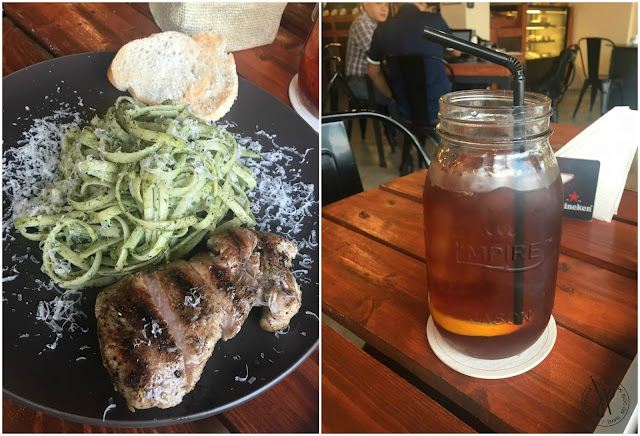 Pallete Cafe Pesto Pasta with Grilled Chicken and Iced Tea