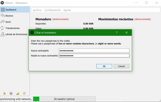 Configurar Guía Tutorial Monedero HCASH HSR