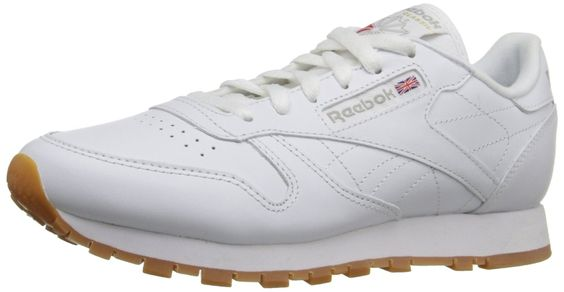 White Reebok Classic with gum sole